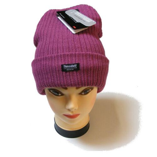 Pour femme épais bonnet en maille violet clair chapeau 3m thinsulate isolation