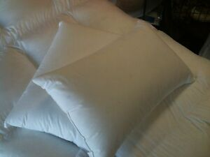 STANDARD-SIZE-PILLOWS-PAIR-90-WHITE-HUNGARIAN-GOOSE-DOWN-100-COTTON-CASE