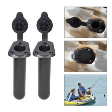 2Pcs Plastic Flush Mount Fishing Boat Rod Holder and Cap Cover Kayak US Stock