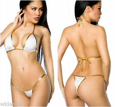 Sexy Bikini Set White Gold Lingerie Bra Panty Beachwear Honeymoon Free Size