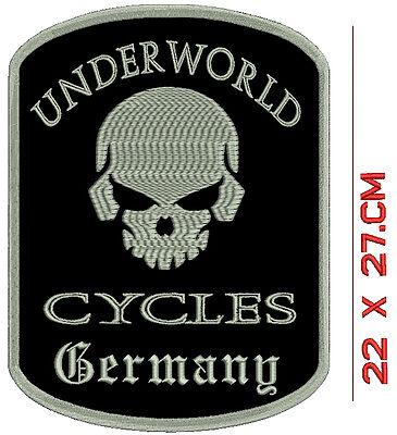 100% Vera Pelle Teschio Underworld Cycles Germany Schiena Patch Ricamate- Così Efficacemente Come Una Fata