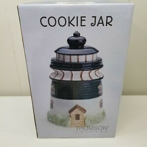 NIB-Thomson-Pottery-Lighthouse-Cookie-Jar-Black-White-Collectible-Home-Decor
