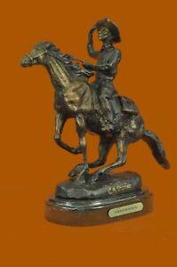 Original-Seasoned-Cowboy-on-Horse-Western-Old-West-Bronze-Sculpture-Statue-SALE