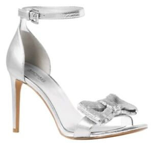 08dc2b09505247 Michael Kors Women s Paris Open-Toe Dress Sandals Size 8.5 Silver ...