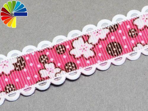 Aufdruck 0,79€//m Borte Blumen Spitze 2m Ripsband, 20mm