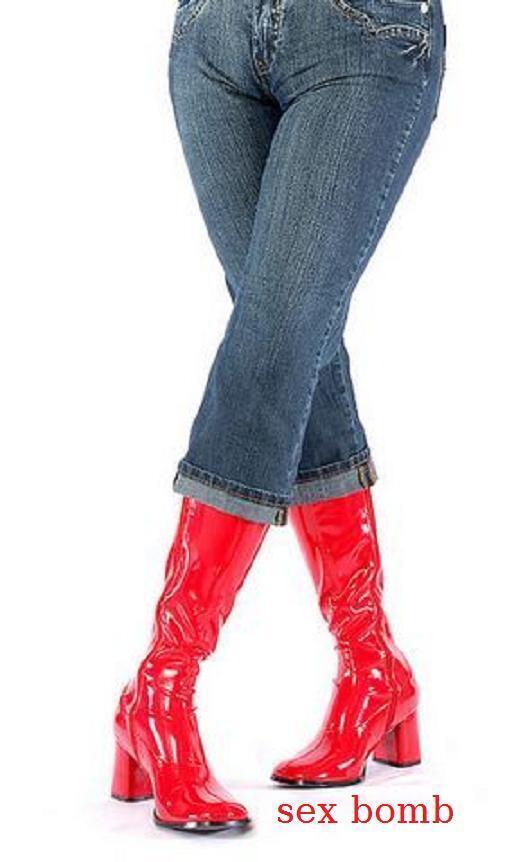 Sexy Stiefel Vintage Tacco 7,5 7,5 7,5 rot Lucido dal 35 al 46 Zip Fashion GLAMOUR 493f87