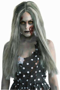 New Zombie Lady Long Grey//Green Wig
