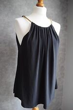 RIVER ISLAND black cami top with gold chain straps & neckline 10 BNWT RRP £28