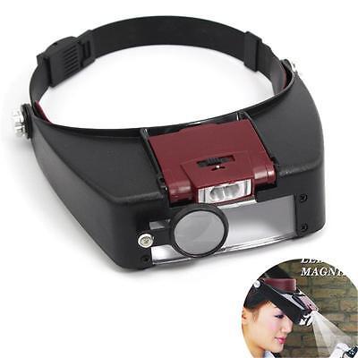 Headband Headset LED Head Lamp Light Jeweler Magnifier Magnifying Glass Loupe TS