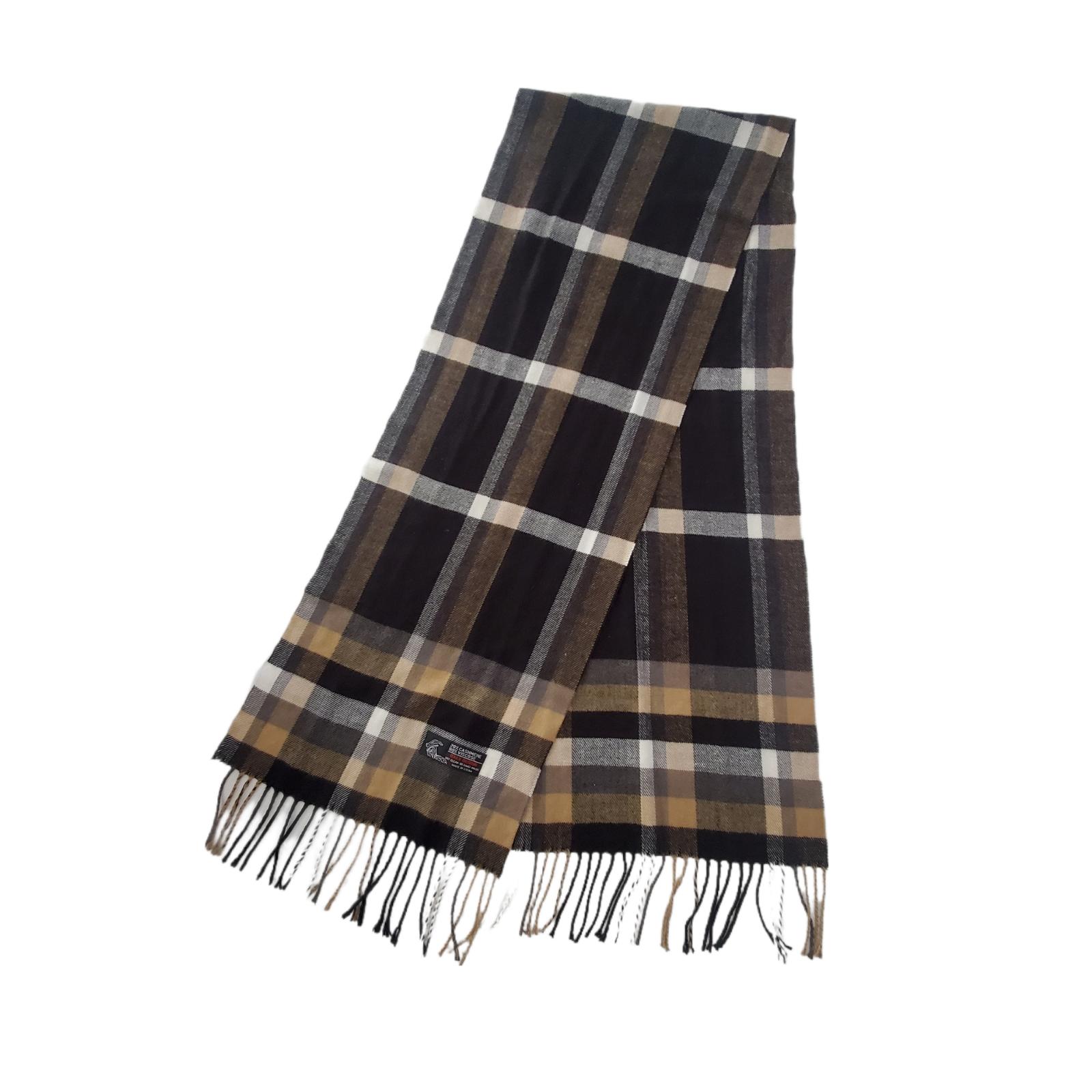 Italy Design Cashmere Viscose Blend Scarf Brown Black White Plaid w/Fringe