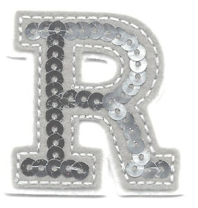 letter appliques iron on letters silver sequin 2 quot letter quot r quot iron on 8205