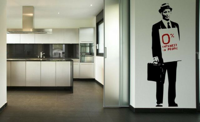 Banksy '0% Interest In People' - Large Wall Stickers Decal High Quality NEW UK