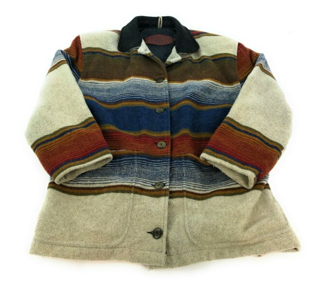 VTG Woolrich Southwestern Wool Blanket Barn Coat Jacket ...