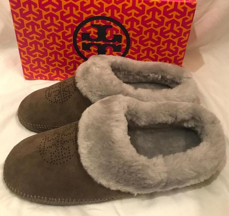 Tory Burch Coley Perforado Perforado Perforado Zapatillas Split Zapatos De Gamuza Elefante gris Talla 10 Nuevo  barato y de moda