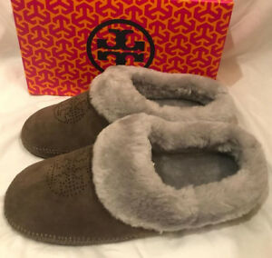484fc4498a70 Tory Burch Coley Perforated Slippers Split Suede Shoes Elephant Gray ...