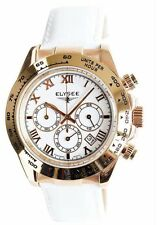 New Womens Elysee 13232 Cologne Chronograph White Leather Strap Watch