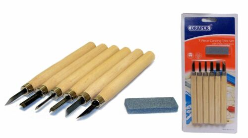DRAPER 7 PIECE WOOD CARVING TOOL SET WITH SHARPENING STONE 31777 CHISEL