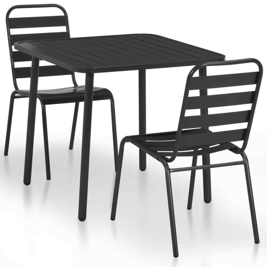 3pc Bistro Set Steel Table 2 Stools Cafe Dining Patio Garden Outdoor Furniture