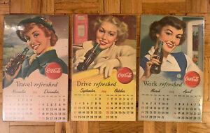 "1950'S Coca Cola Calendar Girls ORIGINAL Monthly Advertising RARE! Mounted! 22"""