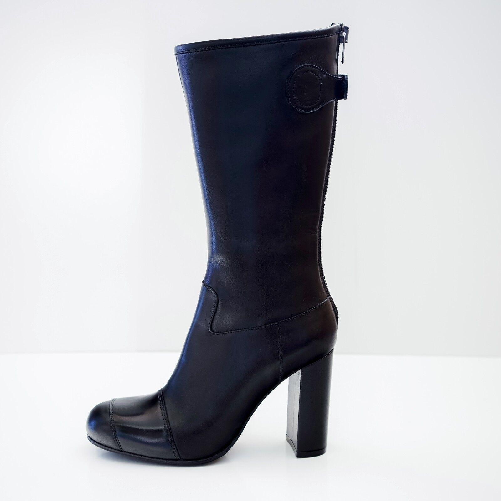 Acne Studios Black Leather Mid-Calf Boots EU 40 US 10