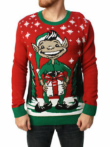 Christmas Sweaters For Men.Details About Ugly Christmas Sweater Men S Elf Dick In A Box Pullover Sweater