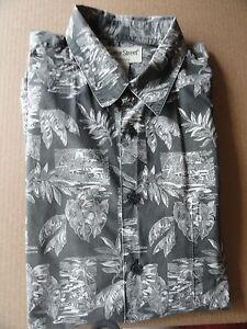 Man-039-s-Gray-White-XL-Banana-Leaf-Print-Hawaiian-Shirt-Cooke-Street-Honolulu