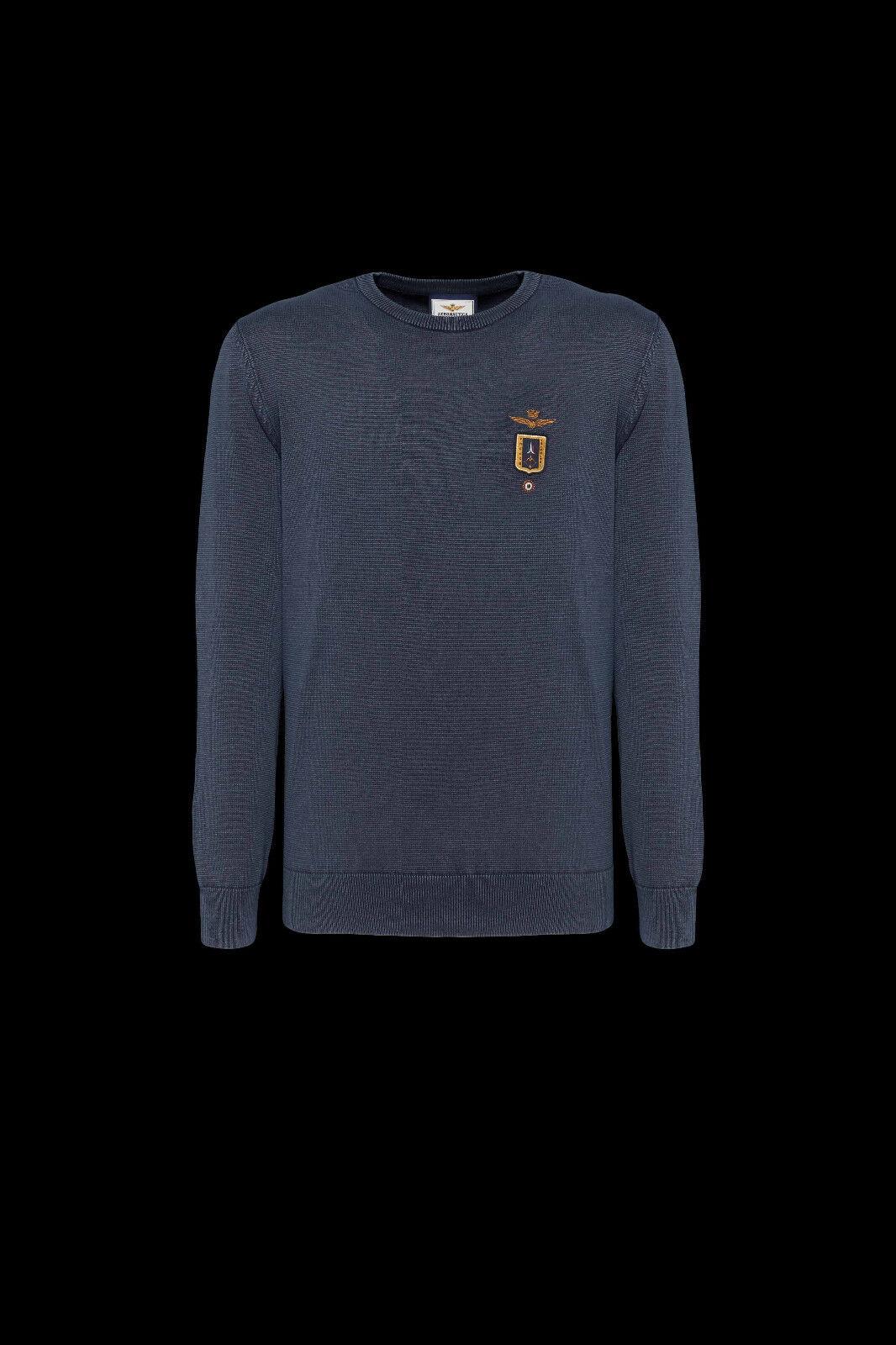 T-shirt  Herren Aeronautica Militare MA1136 2018/2019 Maglia Cotone nera Blu NUOVA