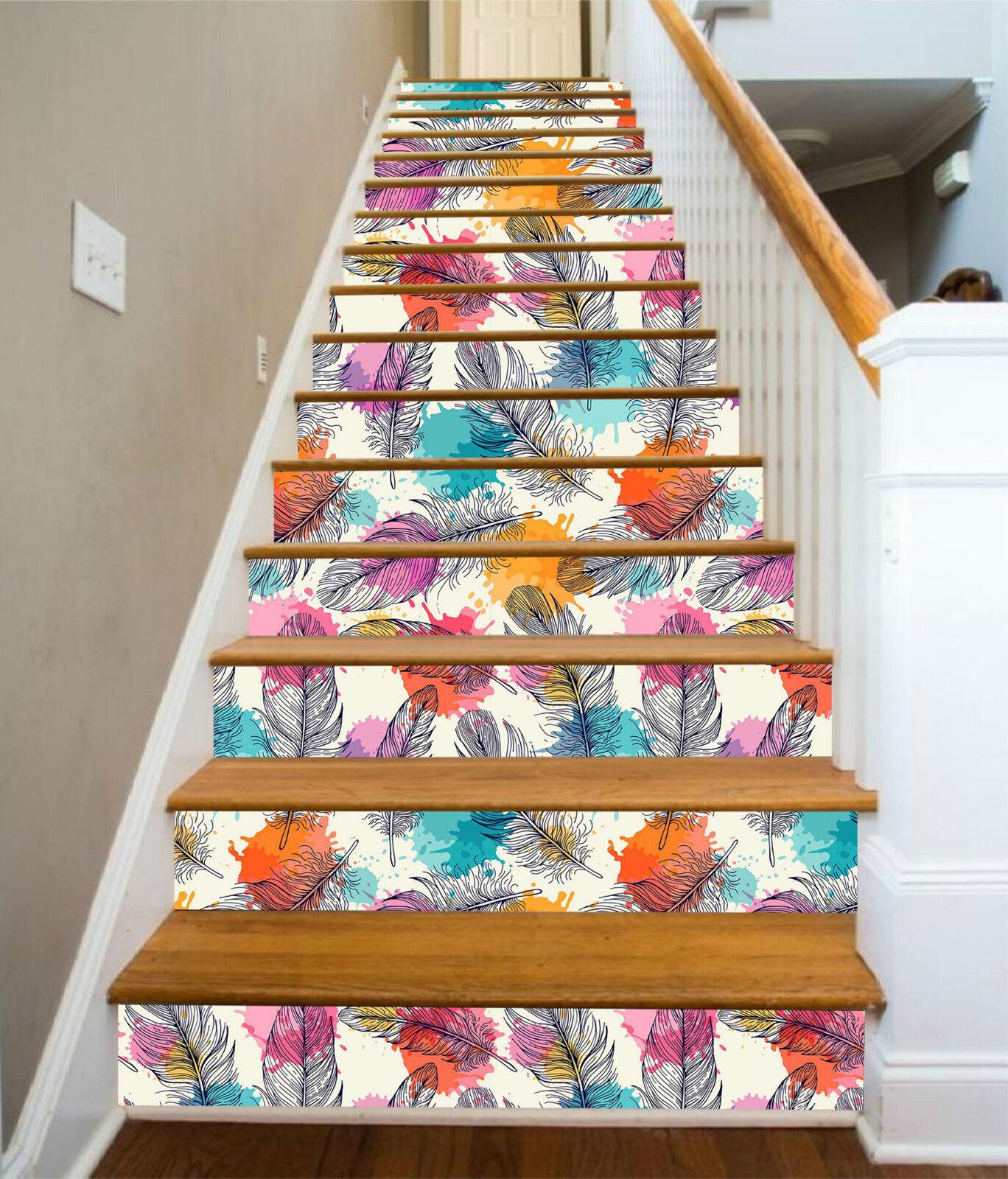3D Federn Punkt 301 Stair Risers Dekoration Fototapete Vinyl Aufkleber Tapete DE
