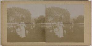 Donna Bambini Modalità 1900 Foto Stereo Amateur Th2n24 Vintage Citrato