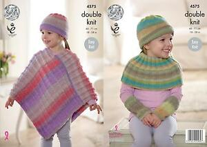 effba6b16 Image is loading King-Cole-4575-Knitting-Pattern-Poncho-Hat-Shoulder-