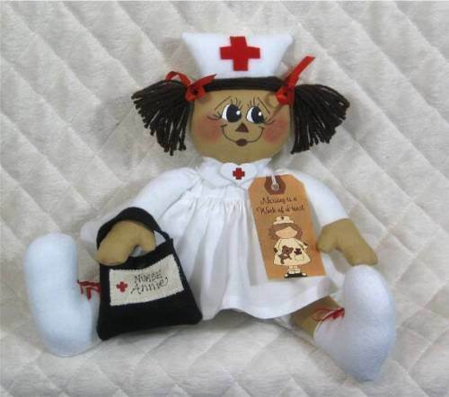 "Primitive Raggedy ""Nurse Annie""DollPATTERN #50from Ginger Creek Crossing!"