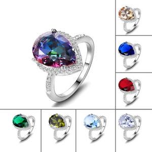 925-Silver-Mystic-Rainbow-Topaz-amp-Aquamarine-amp-Emerald-Multi-Color-Jewelry-Rings