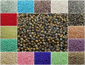 CHOOSE-COLOR-100pcs-3mm-Round-Beads-Czech-Pressed-Glass