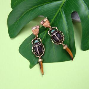 Pendientes-CLIPS-ON-Dorado-Insecto-Escarabajos-Largo-Cuerno-Marron-Rosa-XX24