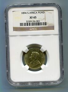 1894-South-Africa-Zuid-Afrika-Kruger-POND-NGC-XF-45-Great-Coin-Low-Mintage