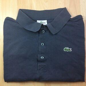 Lacoste-Sport-XXL-2XL-7-gris-solide-a-manches-courtes-Polo-Shirt-Logo-Genuine