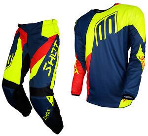 Nuevo-Pantalon-de-disparo-de-alerta-Motocross-MX-2018-amp-Kit-Combinado-De-Jersey-Azul-Rojo-Amarillo