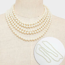 60 inch Long Strand Pearl Necklace / 8mm Beads / White Color