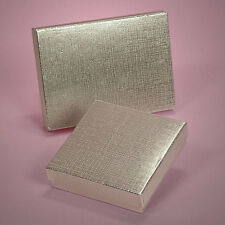 """6 Silver Linen Invitation Box 7.37"""" x 5.5"""" Wedding Party Jewelry Gift Boxes"""