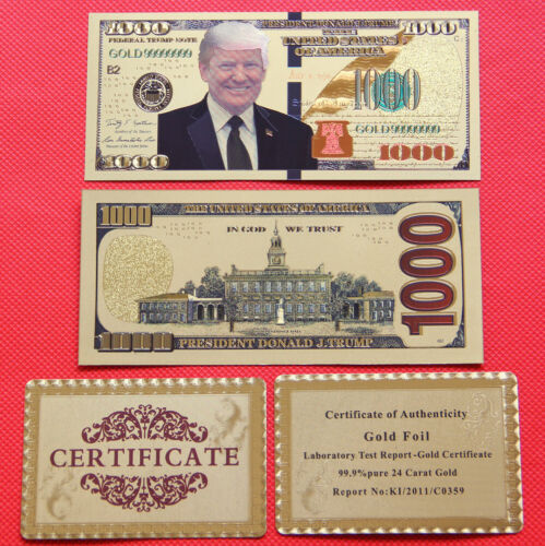 10 Pieces US Donald Trump Dollar 1000 $ GOLD Plated banknotes and certificate