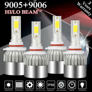 4x 9006+9005 LED Headlight 4500W 650000LM Hi-Lo Beam Combo Kit 6000K HID Lamp C6