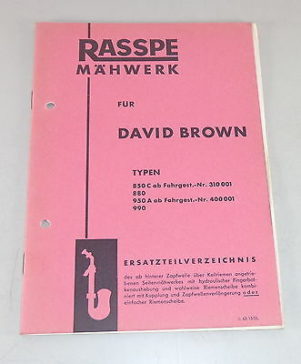 Kind-Hearted Parts Catalog Rasspe Mower For David Brown Tractor Stand 02/1963 Motors Farming & Agriculture