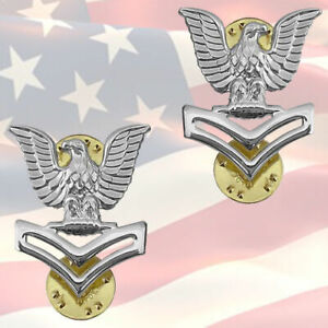 U-S-NAVY-PETTY-OFFICER-SECOND-CLASS-COLLAR-BADGES-PAIR-GENUINE-E5