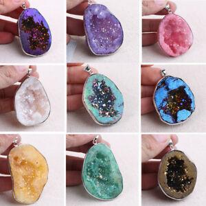 Natural-Agate-Rock-Quartz-Crystal-Irregular-Pendant-DIY-Necklace-Jewelry-Making