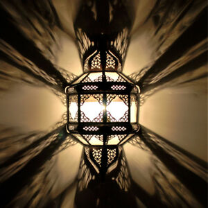 Oriental-Applique-Murale-Lampe-Marocaine-Abat-Jour-Tulum-Blanc