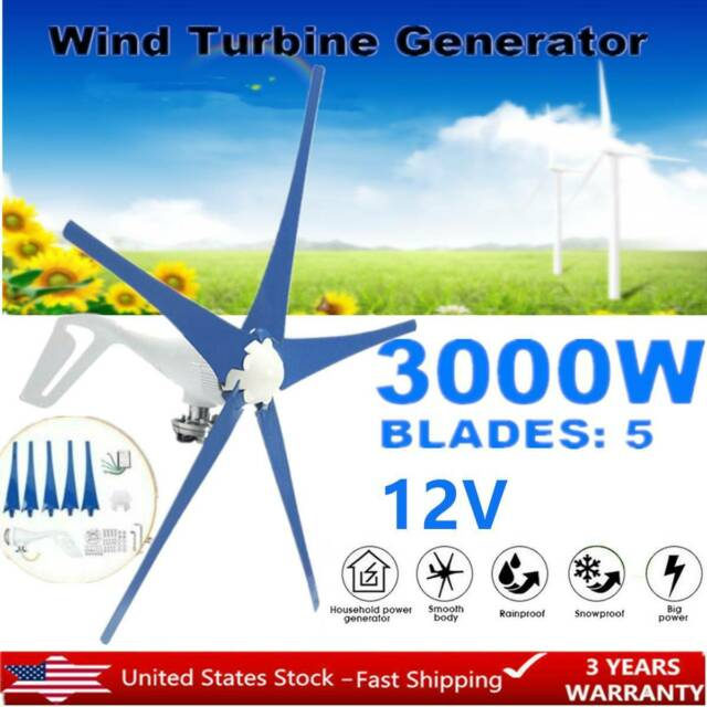 5 Blades 12V 3000W Max Power Wind Turbine Generator Kit Charge Controller Blue