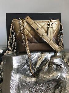 7dfb702b4d0a NWT CHANEL 2018 Gabrielle Small Hobo Bag Gold Bronze Ombré Metallic ...