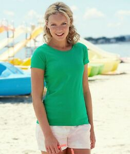 FRUIT-OF-THE-LOOM-T-SHIRT-DONNA-VALUEWEIGHT-100-COTN-MANICA-CORTA-MAGLIA-CASUAL