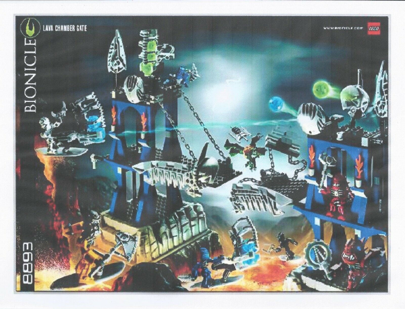 LEGO SET 8893 - LAVA CHAMBER GATE (BIONICLE PLAYSET), COMPLETE WITH ALL MINIFIGS