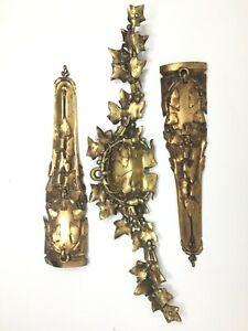 Quincaillerie-Bronze-Dore-Ameublement-1900-Feuilles-Art-Nouveau-Antique-Hardware